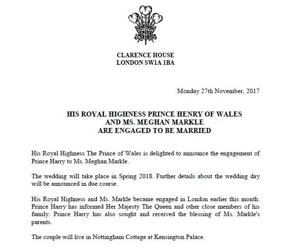 Meghan and Harry engagement announcement