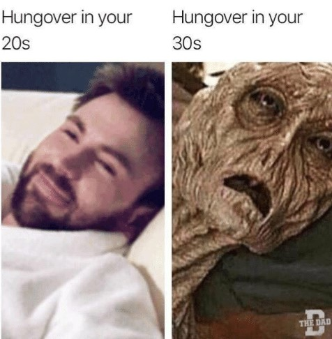 Hungover 20s vs 30s