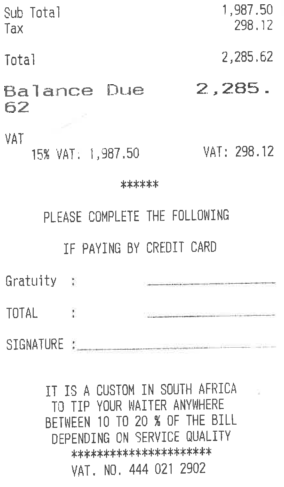 The Codfather receipt 2